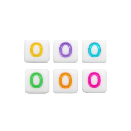 Acryl letterkraal vierkant O gekleurd