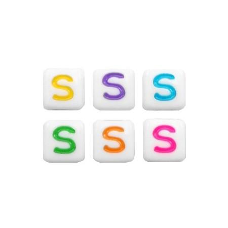 Acryl letterkraal vierkant S gekleurd