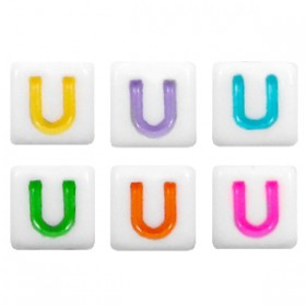 Acryl letterkraal vierkant U gekleurd