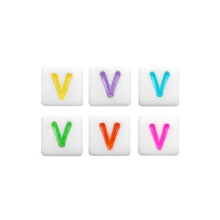 Acryl letterkraal vierkant V gekleurd