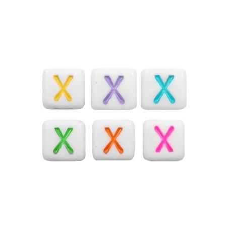 Acryl letterkraal vierkant X gekleurd
