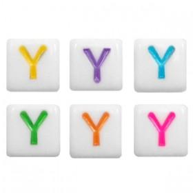 Acryl letterkraal vierkant Y gekleurd