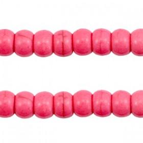 Keramiek turquoise kralen disc 6mm Hot pink
