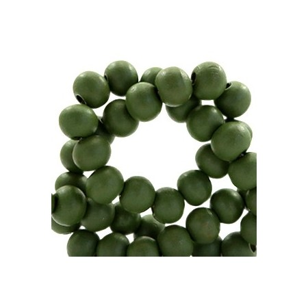 Houten Kralen Rond 6mm Army green
