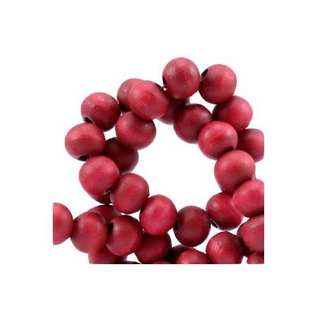 Houten Kralen Rond 6mm Warm red