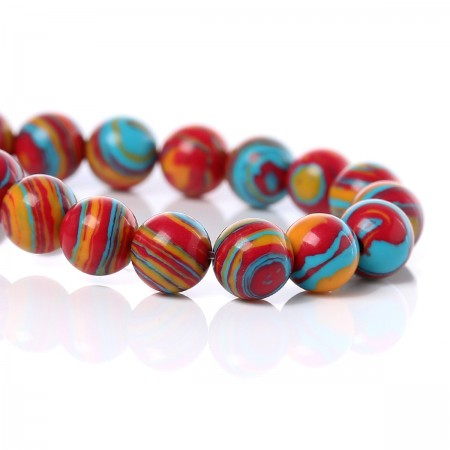 Natuursteen Malachite Rond kralen 6mm Multicolor Stripe Pattern