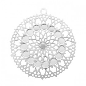 Bohemian hanger rond met oog 26mm zilver