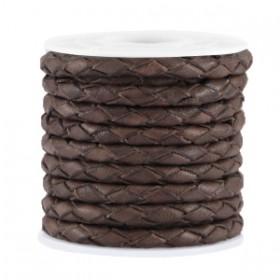 DQ leer 4mm 4 draden rond gevlochten Chocolate vintage