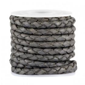DQ leer 4mm 4 draden rond gevlochten Dark grey vintage