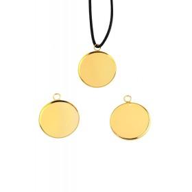 Metalen hanger rond voor cabochon 25mm goudkleur