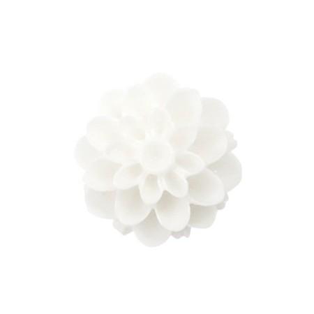 Dahlia bloem kralen 14mm shiny Wit