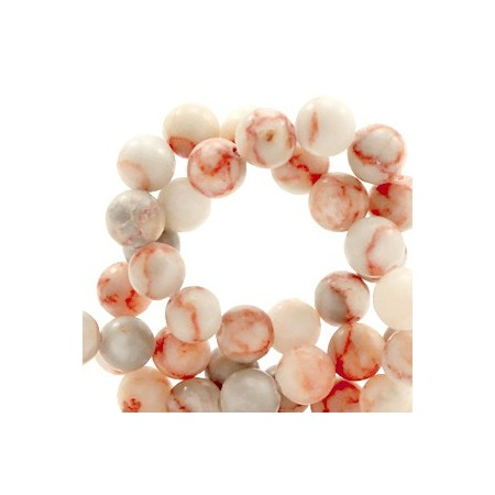 Natuursteen  rond 6mm marble Blush coral red