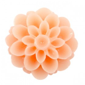 Dahlia bloem kralen 14mm shiny Peach orange