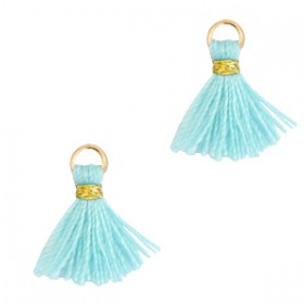 Kwastjes 1cm Goud Mint aqua blue