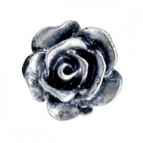 Roosjes kralen 6mm Zwart-zilver coating