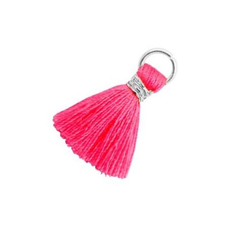 Kwastjes 1.8cm Zilver Neon pink