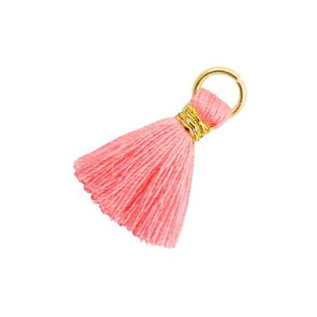Kwastjes 1.8cm Goud Neon coral pink