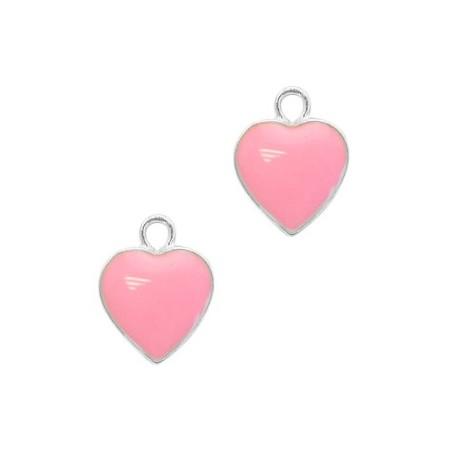 Metaal bedel hartje Silver-pink
