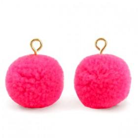 Pompom 1.5cm met gouden oog Hot neon pink