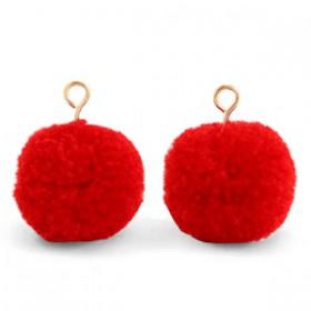 Pompom 1.5cm met gouden oog Scarlet red