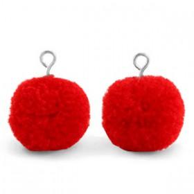 Pompom 1.5cm met zilveren oog Scarlet red