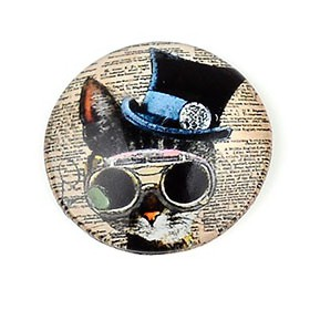20mm cabochon steampunk print Cat with glasses