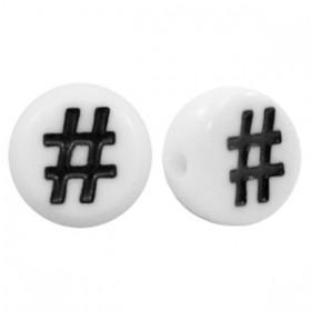 Acryl letterkraal rond hashtag zwart