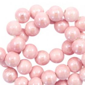 Keramiek kraal rond 6mm Roze