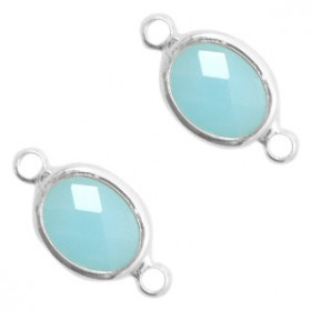 Facet tussenstuk ovaal 10x9mm Turquoise blue opal-silver