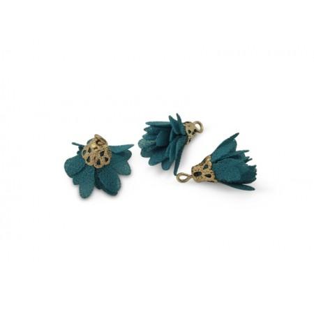 Kwastjes bloem 1.7cm Goud turkoois