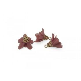 Kwastjes bloem 1.7cm Goud Donker roze