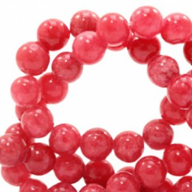 Natuursteen jade ronde kralen 6mm watercolour look Rose red