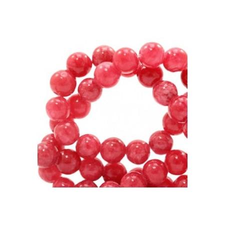 Natuursteen jade ronde kralen 6mm watercolour look Rose red