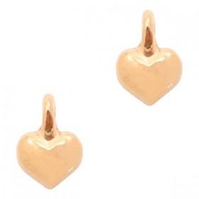 DQ metaal bedel hart Rosé Goud (nikkelvrij)