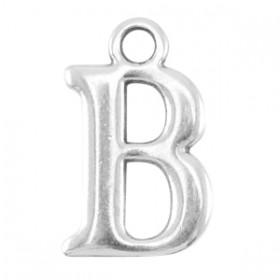 DQ letter bedel B Antiek zilver (nikkelvrij)