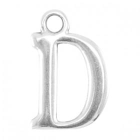DQ letter bedel D Antiek zilver (nikkelvrij)