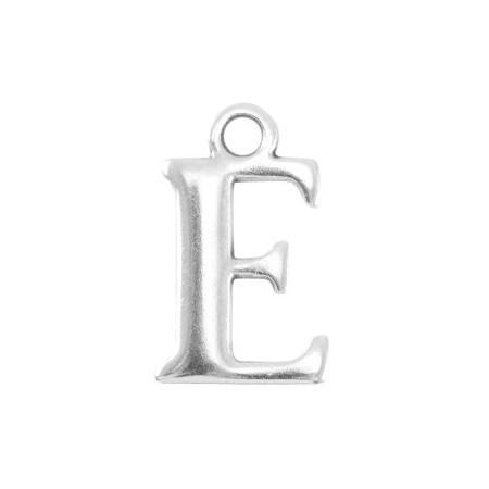 DQ letter bedel E Antiek zilver (nikkelvrij)