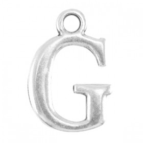DQ letter bedel G Antiek zilver (nikkelvrij)