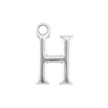 DQ letter bedel H Antiek zilver (nikkelvrij)