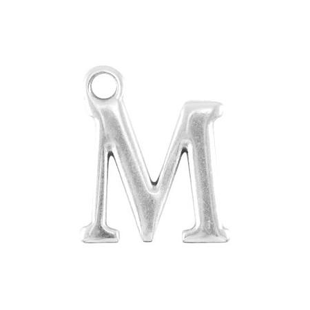DQ letter bedel M Antiek zilver (nikkelvrij)