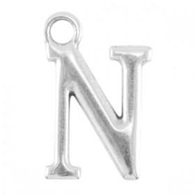 DQ letter bedel N Antiek zilver (nikkelvrij)