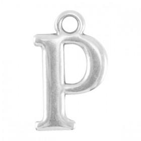 DQ letter bedel P Antiek zilver (nikkelvrij)