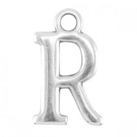 DQ letter bedel R Antiek zilver (nikkelvrij)