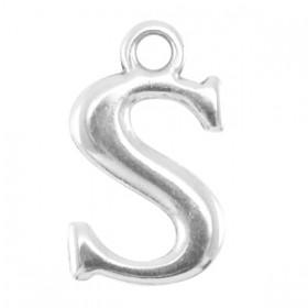DQ letter bedel S Antiek zilver (nikkelvrij)