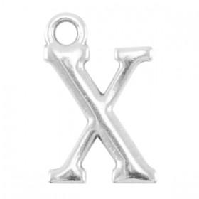 DQ letter bedel X Antiek zilver (nikkelvrij)