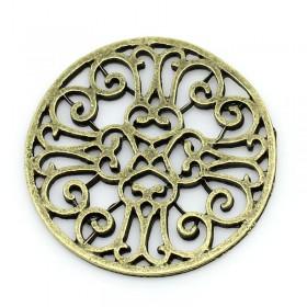 Tussenstuk rond 28mm finding Antiek brons