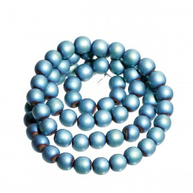 Hematite kralen rond 6mm Dynamic blue