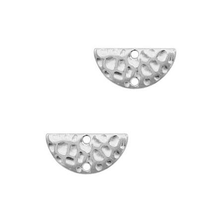 DQ metalen bedel/tussenstuk halve cirkel Antiek zilver (nikkelvrij)