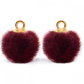 Pompom 12mm Port purple red-gold