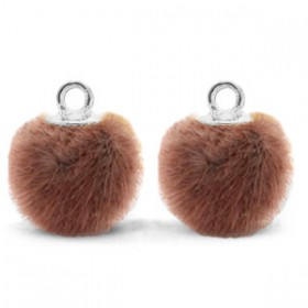 Pompom 12mm Red brown-silver